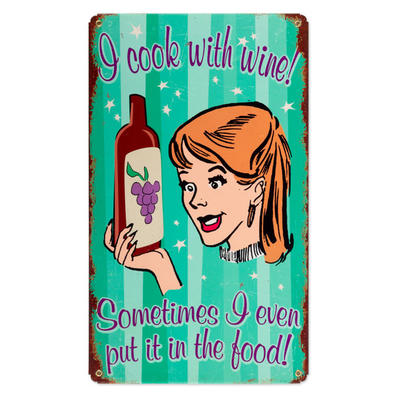 Cook With Wine Metal Bar Sign