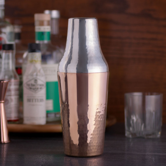 Behind The Bar® Copper Prestige Cocktail Shaker - Real Silver Inside Lining - Handmade In Turkey