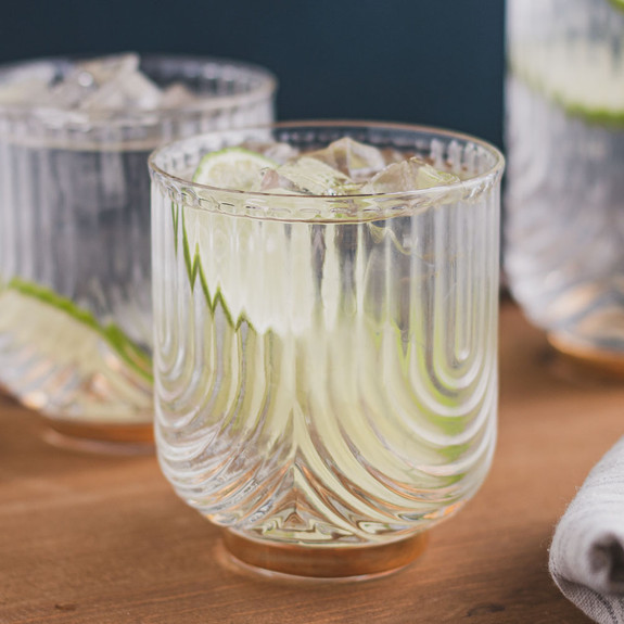 Viski Gatsby Gold Footed Glass Cocktail Tumblers - 12 oz - Set of 2