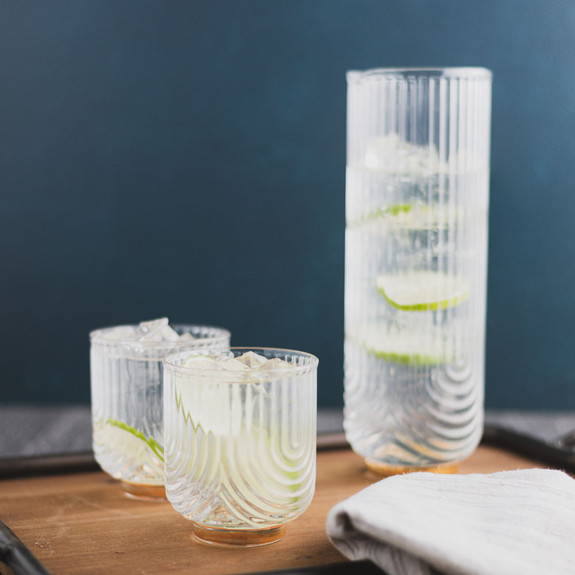 Viski Gatsby Gold Footed Glass Cocktail Tumblers & Carafe - 3 Pieces