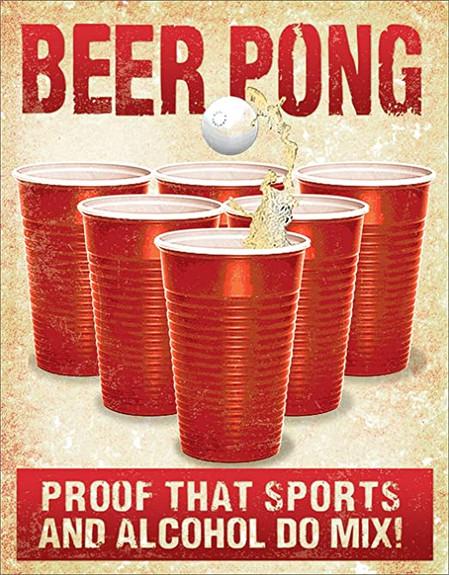 Beer Pong Metal Bar Sign