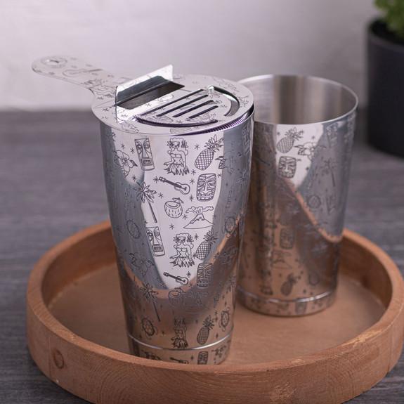 Urban Bar 3-Piece Tiki Pattern Boston Shaker Tin Set