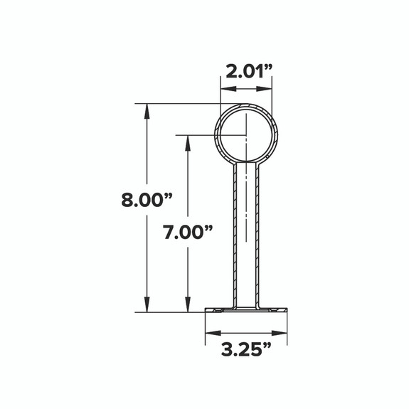 "Tall Rounded Center Post Bracket - Gunmetal Grey - 2""OD"