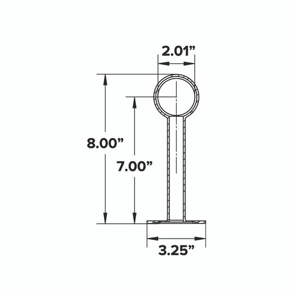 """Tall Rounded Center Post Bracket - Matte Black - 2""""OD"""