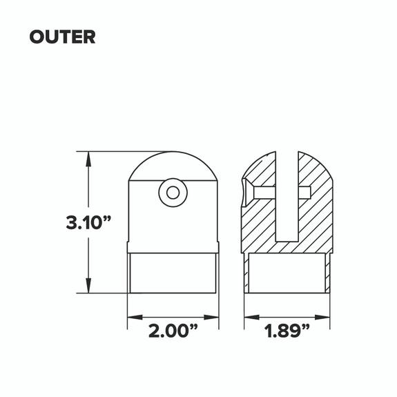 """Adjustable Flush Elbow - Brushed Brass - 2"""" OD - Outer"""