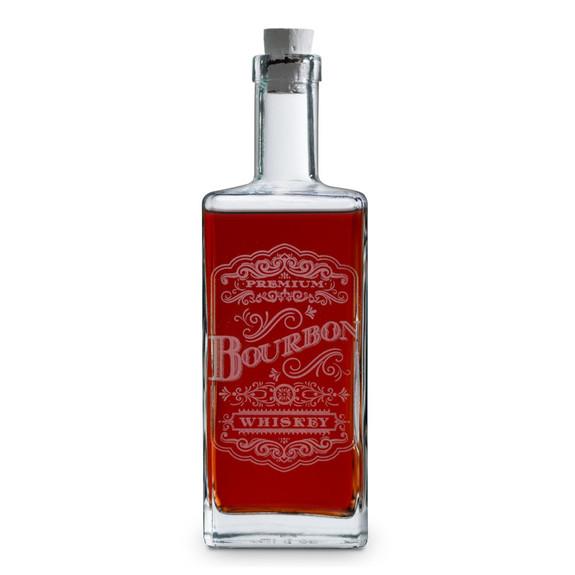 Bourbon Victorian Elixir Style Etched Square Spirit Decanter - 750ml