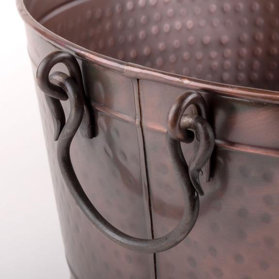 Antique Copper Hammered Oval Beverage Tub