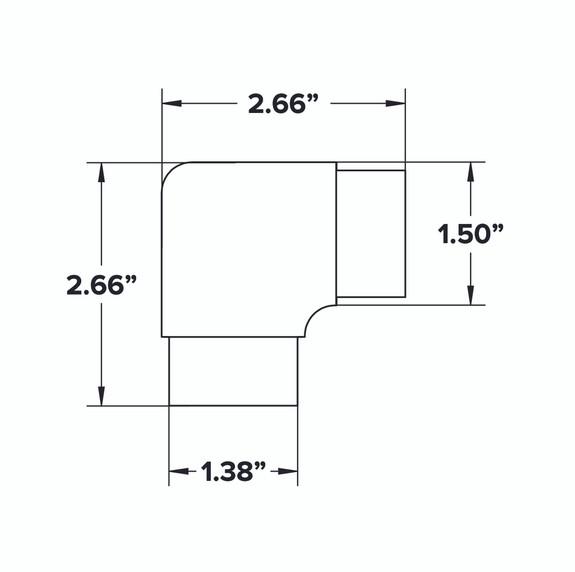 "1.5"" OD Flush 90 Degree Elbow Fitting Spec Sheet"