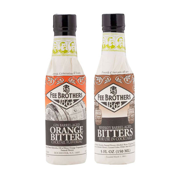Fee Brothers Barrel-Aged Bitters 2 Pack - 5 oz - Gin Barrel Orange & Whiskey Barrel Aromatic Bitters