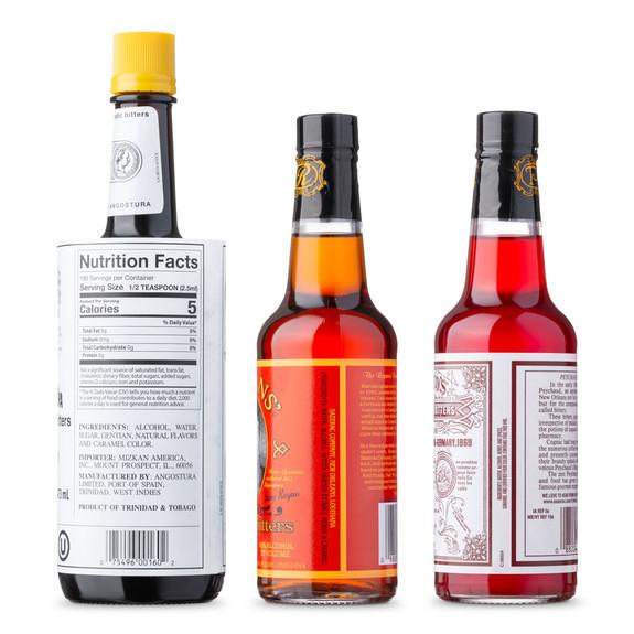 Classic Bitters XL Bottle Variety 3 Pack - Angostura, Peychauds & Regan's Orange Bitters