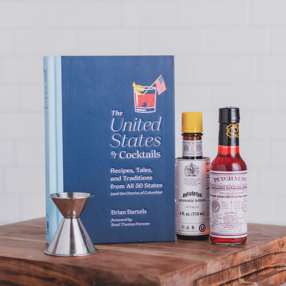 The United States of Cocktails Recipe & History Book Gift Set with Bitters & Jigger