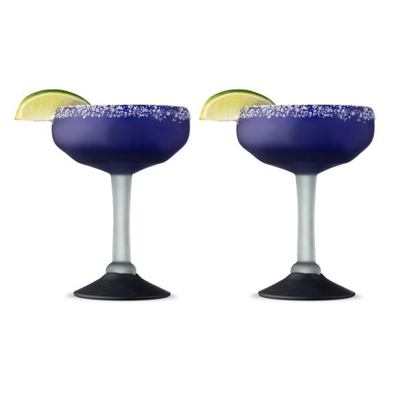 Hand-Blown Frosted Cobalt Blue Margarita Glasses - 10 oz - Set of 2