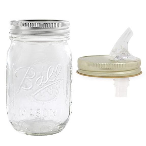 Moonshine Mason Jar with Free-Flow Pourer Spout Lid - 16 oz