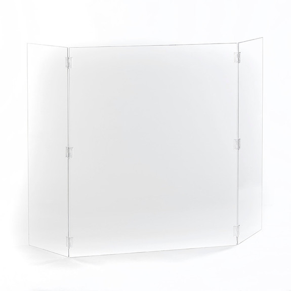 """Hinged Free-Standing Protective Clear Acrylic Shield - 28""""W x 34""""H"""
