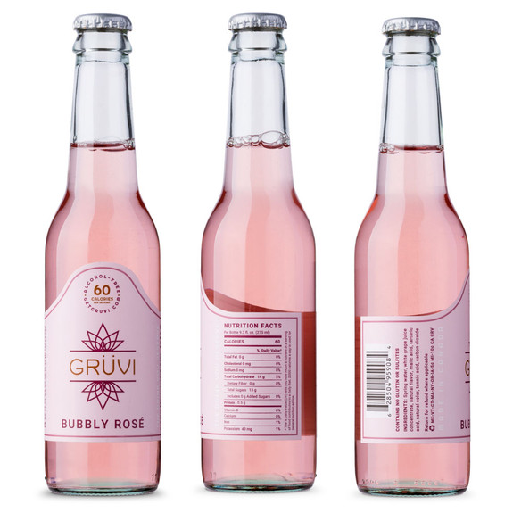 Gruvi Dry Secco & Bubbly Rosé Non-Alcoholic Wine Sampler 4 -Pack - 9.3 oz Bottles