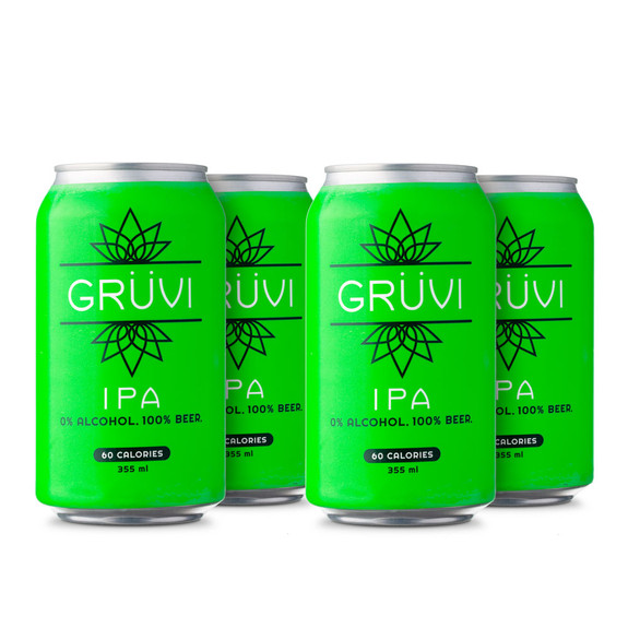 Gruvi IPA Non-Alcoholic Beer - 12 oz Can - 4-Pack