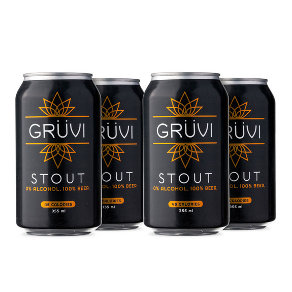 Gruvi Stout Non-Alcoholic Beer - 12 oz Can - 4-Pack