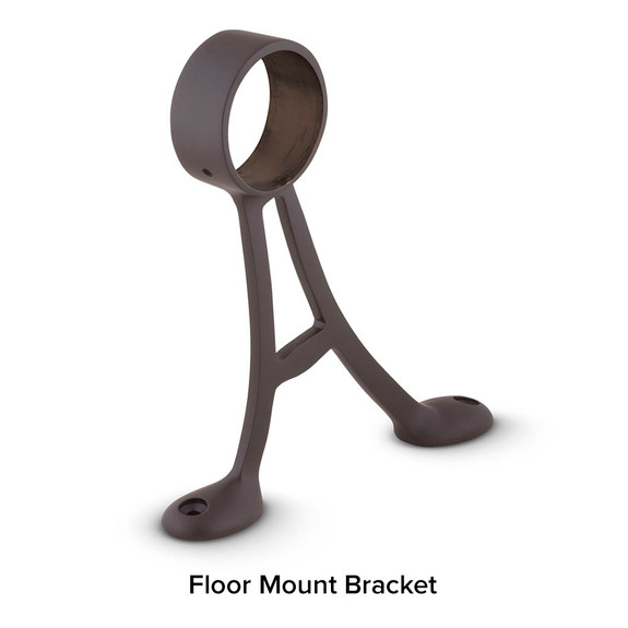 Oil Rubbed Bronze Bar Foot Rail Kit - Floor Mount Bracket