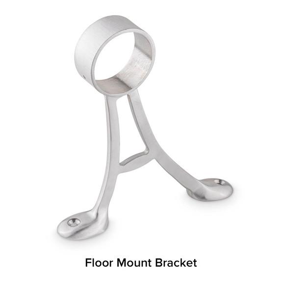 Brushed Stainless Steel Bar Foot Rail Kit - Floor Mount Brackets