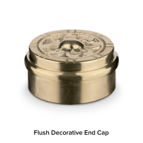 Polished Brass Bar Foot Rail Kit - Decorative End Cap