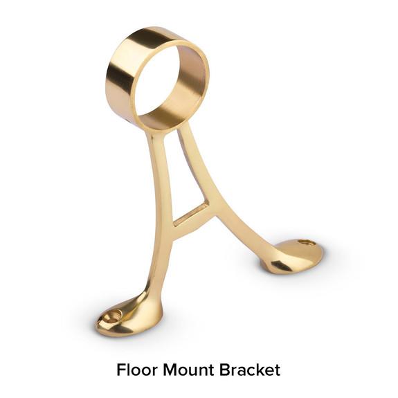 Polished Brass Bar Foot Rail Kit - Floor Mount Bracket