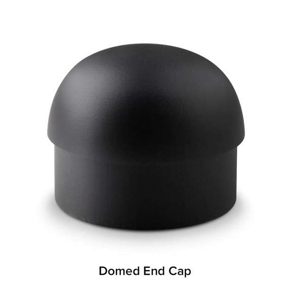 Matte Black Bar Foot Rail Kit - Domed End Cap