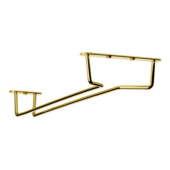 "Glass Hanger Rack - Aged Gold Finish - 12""L"