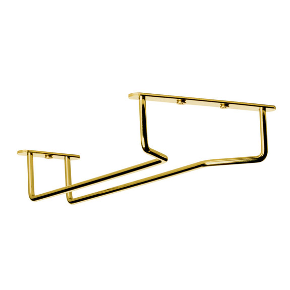 "Glass Hanger Rack - Aged Gold Finish - 10""L"