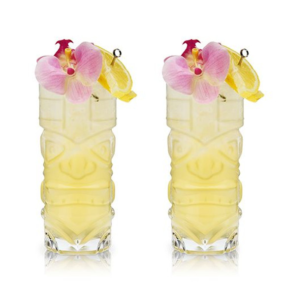 Viski Tiki Totem Crystal Cocktail Glasses - 15 oz - Set of 2