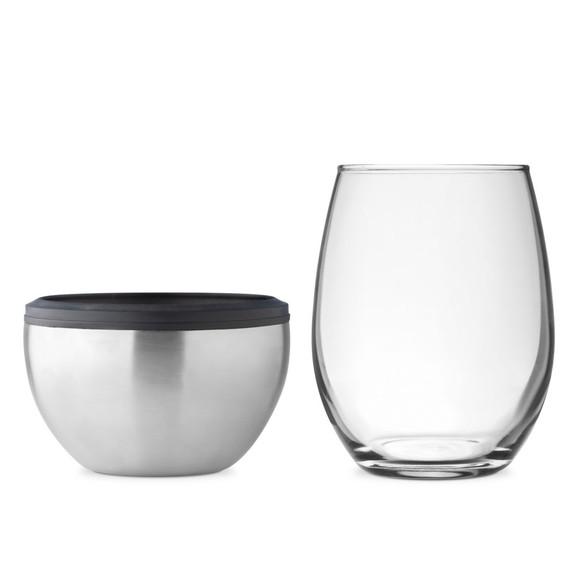 Asobu Double Wall Vacuum Insulated Stemless Wine Kuzie - Silver Finish