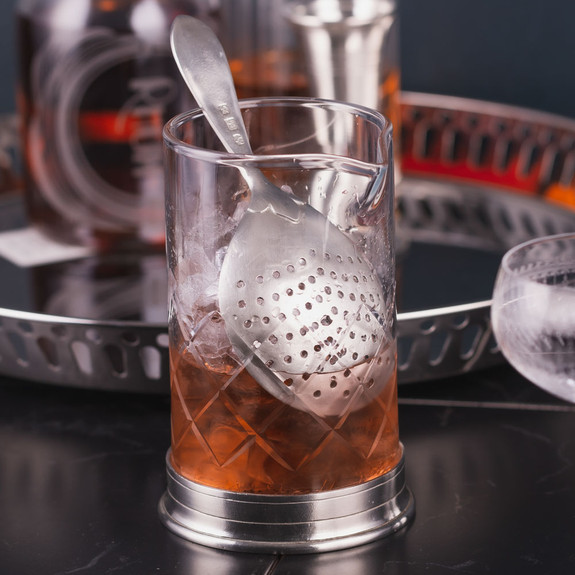 MATCH Handmade Italian Pewter & Crystal Cocktail Mixing Glass & Julep Strainer Set