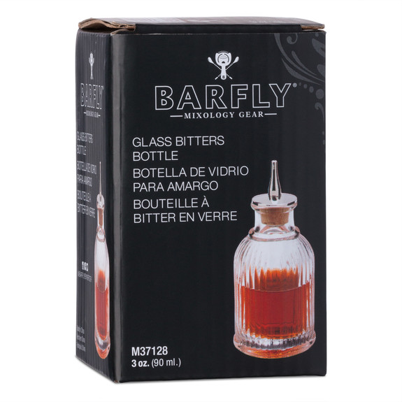 Barfly Ribbed Glass Bitters Bottle with Stainless Steel & Cork Dasher - 3 oz