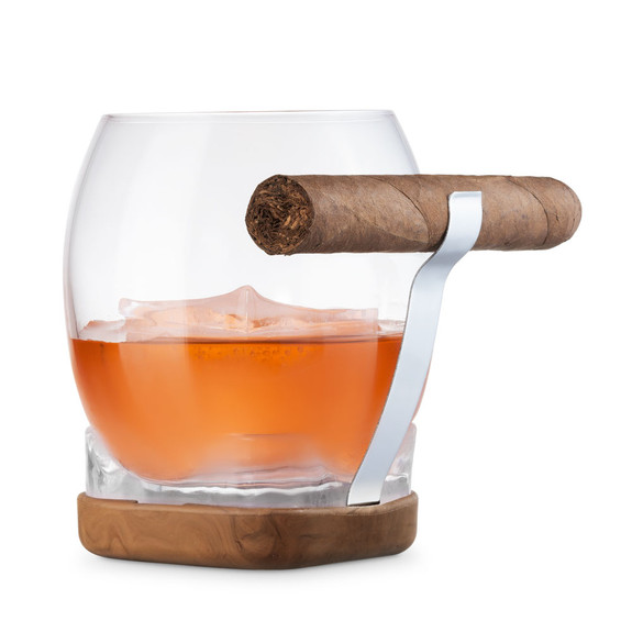Whiskey Cigar Glass with Built-In Cigar Grip & Coaster - 14.5 oz