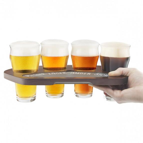Craft Beer Flight Set - Set of 4 Tasting Glasses & Wood Chalkboard Tray