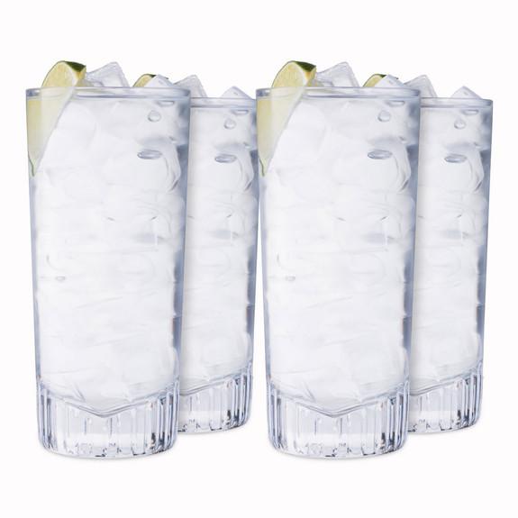 Nude Glass Caldera Crystal Long Drink Highball Glasses - 15.25 oz - Set of 4