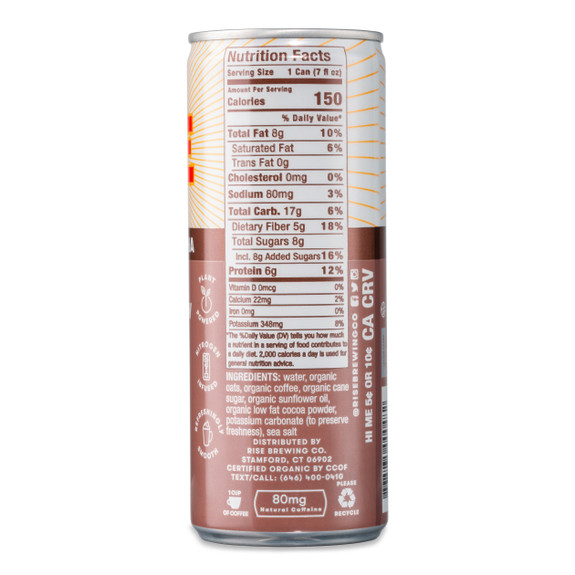 RISE Brewing Co. Oat Milk Mocha Latte Nitro Cold Brew Coffee - 7 oz Can