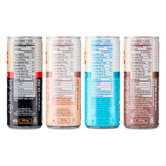RISE Brewing Co. Nitro Cold Brew Coffee Mixed Sampler Pack - 8 Cans - 7 oz - 4 Flavors