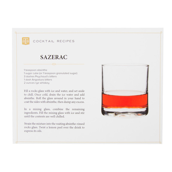 Sazerac Cocktail Gift Set - Recipe Card