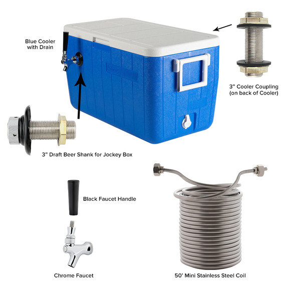 Single Faucet Jockey Box - 50' Coil - Complete Kit Without CO2 Tank
