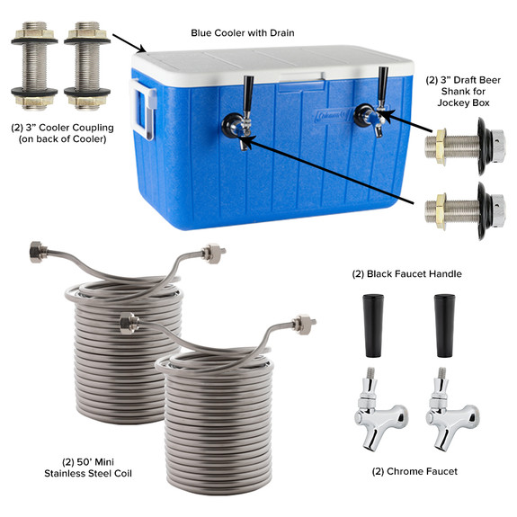 Double Faucet Jockey Box - 50' Coils - Complete Kit