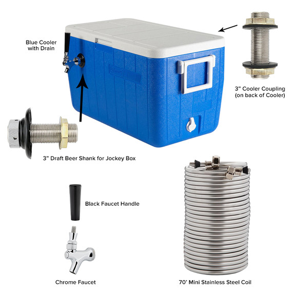 Single Faucet Jockey Box - 70' Coil - Complete Kit Without CO2 Tank