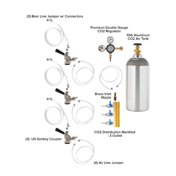 Triple Faucet Jockey Box - 50' Coils - Complete Kit