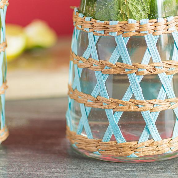 Amanda Lindroth Woven Light Blue Island Raffia Wrapped Carafe & Cooler Glass Set - 3 Pieces