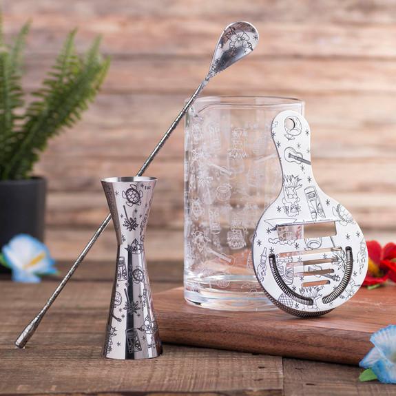 Urban Bar Tiki Pattern Mixing Glass & Bar Tool Set - 4 Pieces