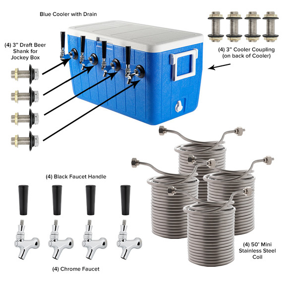 Four Faucet Jockey Box - 50' Coils - Complete Kit Without CO2 Tank