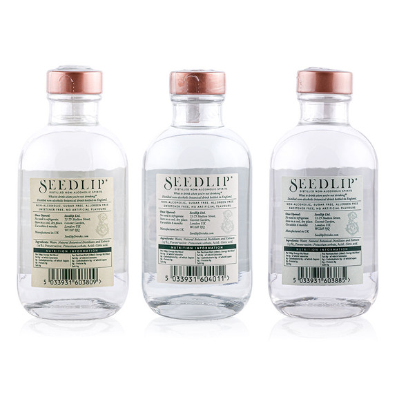 Seedlip Distilled Non-Alcoholic Spirits Triple Sampler Pack - 200ml Bottles of Grove 42, Spice 94, & Garden 108