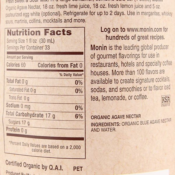 Monin Organic Agave Nectar Sweetener Syrup Nutritional Facts
