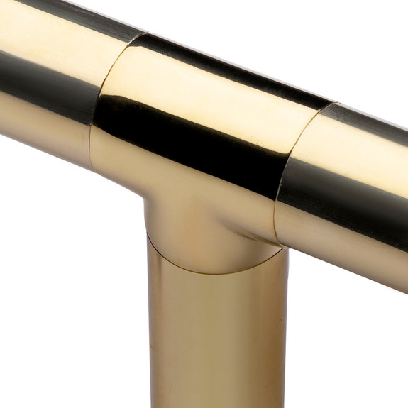 Flush Tee Handrail Fitting - Polished Brass - 1.5-inch OD