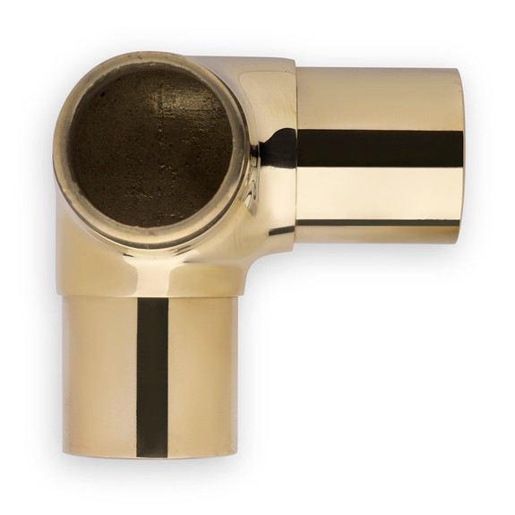 "Flush Side Outlet Handrail Elbow Fitting - Polished Brass - 1.5"" OD"