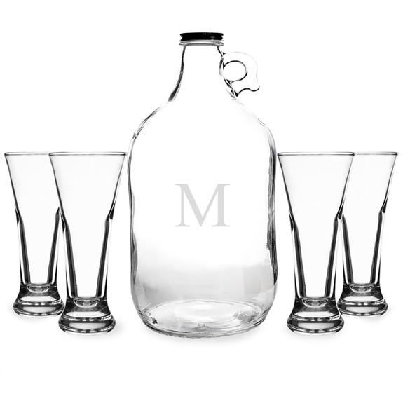 Personalized Beer Growler & Pilsner Beer Tasting Glass Set
